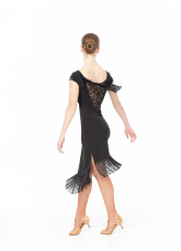 Платье Латина PL237-11 Dance.me, Украина, Масло+гипюр, бахрома, Черный