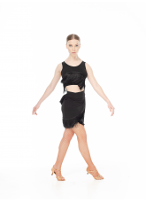 Dance.me Топ женский TP766, масло/бахрома, черный