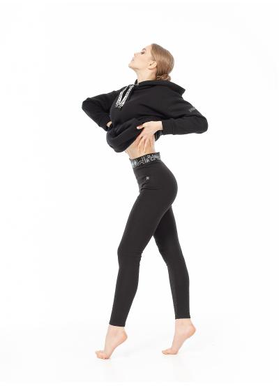Dance Me Лосины L61-23-12 женские, стречевый хлопок с легким начесом, черный
