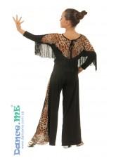 Блуза женская БЛ218-2 Dance.me, Украина, Масло+сетка, Черный/Леопардовый