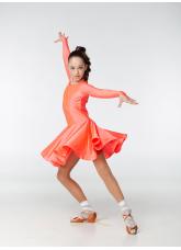 Рейтинговое платье 420-1 ДР-К-Кр Dance.Me, бифлекс, корал неон