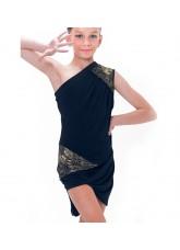 Dance Me Платье детское ПЛ173-4, масло / кружево, черный, золото