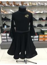 Платье для девочки ПЛ444-15 Dance.me, масло+гипюр+бархат, черный