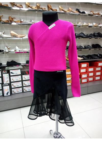 Детская юбка для латины Dance Me ЮЛ34-13, масло+сетка, черный