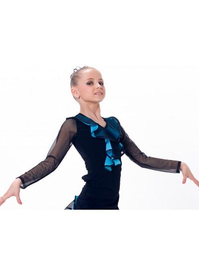 Dance Me Блуза детская БЛ39-3, масло / цветная сетка, голубой