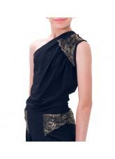 Dance Me Блуза детская БЛ174-4, масло / кружево, черный, золото