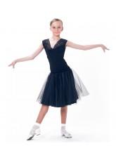 Dance Me Блуза детская БЛ160-4, масло / сетка / кружево, черный