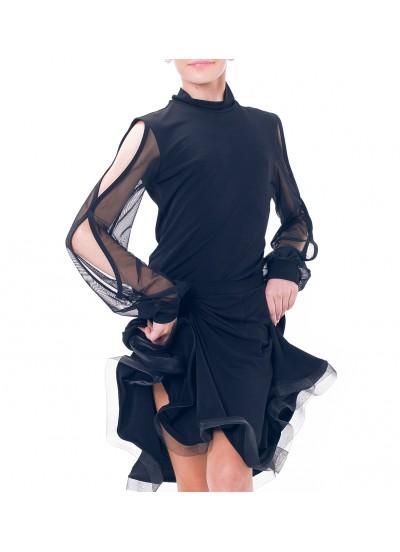 Dance Me Блуза детская БЛ196, масло / сетка, черный