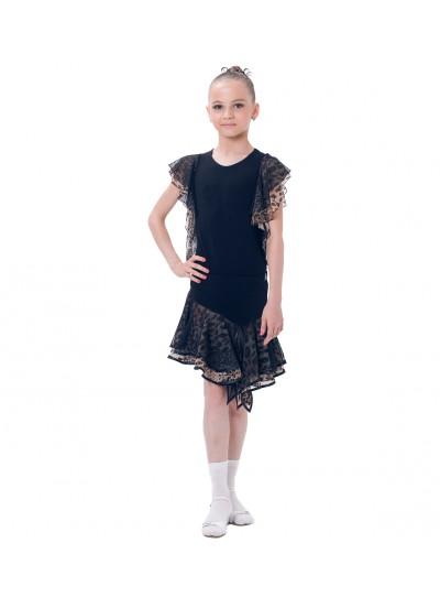 Dance Me Блуза детская БЛ24-2, масло / сетка, лео