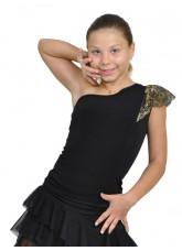 Dance Me Блуза детская БЛ162-4, масло / кружево, черный, золото