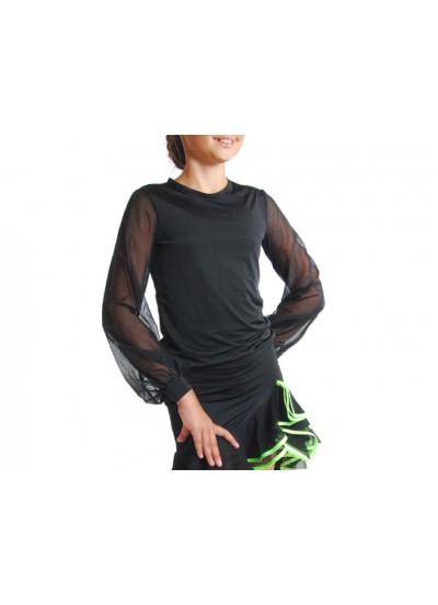 Dance Me Блуза детская БЛ33, кристал / сетка, черный