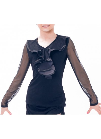 Dance Me Блуза детская БЛ39-3, масло / цветная сетка, серый