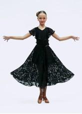 Юбка для стандарта детская  ЮС435-11 Dance Me, Масло+гипюр+бархат, Черный