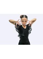 Блуза детская  БЛ263-11 Dance.me, Масло+гипюр, Черный