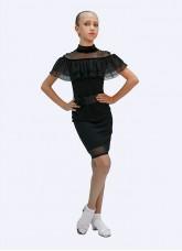 Платье Латина ПЛ431 Dance.me для девочки, масло+сетка+бархат, Черный