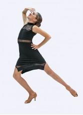 Платье Латина ПЛ436 Dance.me для девочки, масло+сетка, черный