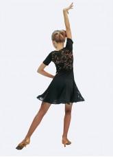 Платье Латина ПЛ438-11 Dance.me для девочки, масло+гипюр, черный