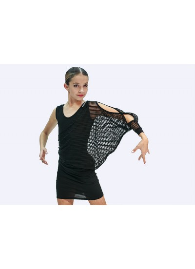 Детское платье для латины Dance Me ПЛ240-10, масло / сетка, черный