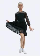 Платье детское Латина ПЛ432 Dance.me, Масло сетка гипюр, Черный