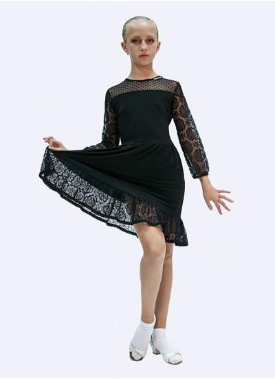 Платье детское Латина ПЛ432 Dance.me, Масло+сетка+гипюр, Черный