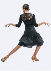Платье для девочки Латина ПЛ439-11 Dance.me, Украина, масло+гипюр, черный