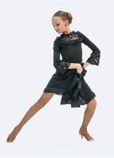 Платье Латина ПЛ429 Dance.me для девочки, масло+гипюр+сетка+бархат, Черный