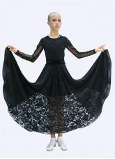 Платье для девочки ПЛ424 Dance.me, масло+гипюр+сетка+бархат, Черный