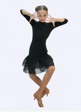 Платье для девочки Латина ПЛ439 Dance.me, Украина, масло+гипюр, черный