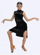 Платье Латина ПЛ436-13-11 Dance.me, Украина, Бархат+гипюр, Черный