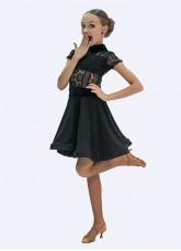 Платье Стандарт ПС434 Dance.me, Украина, Масло+гипюр+сетка+бархат, Черный