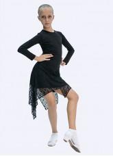 Платье детское Латина ПЛ427 Dance.me, Масло+гипюр, Черный