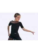 Блуза детская БЛ411-КР Dance.me, Украина, Масло+сетка, Черный