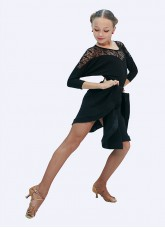 Блуза детская БЛ153-11 Dance.me, масло+гипюр, черный