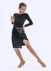 Юбка для девочки Латина ЮЛ391-11-14 Dance.me, Украина, Масло+сетка, Черный