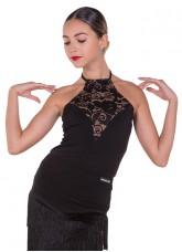 Блуза женская БЛ386-11 Dance.me, Масло+гипюр, Черный