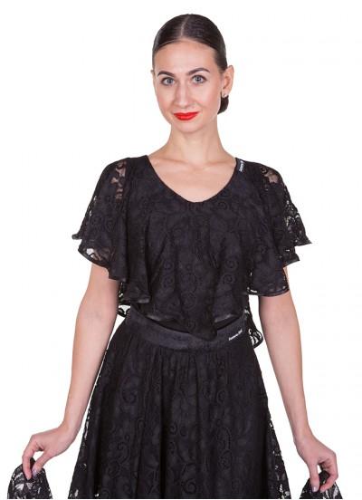 Блуза женская БЛ263-11 Dance Me , масло / гипюр, черный