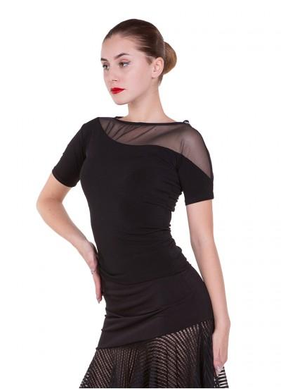 Блуза женская БЛ411-КР Dance.me, Украина, Масло+сетка, Черный