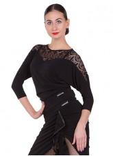 Блуза женская БЛ153-11 Dance.me, масло+гипюр, черный