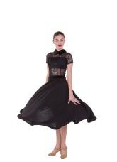 Платье для женщин ПС434 Стандарт, масло+гипюр+сетка+бархат, черный