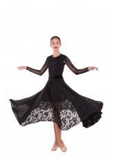 Платье женское ПС424 Dance.me, масло+гипюр+сетка+бархат, черный
