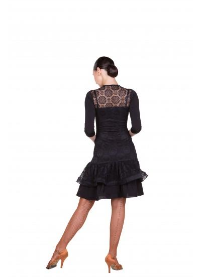 Платье женское Латина ПЛ439-11 Dance.me, Украина, масло+гипюр, черный