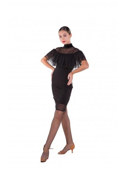 Платье Латина ПЛ431 Dance.me женское, масло+сетка+бархат, черный