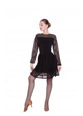 Платье Латина ПЛ432 женское Dance.me, масло / сетка / гипюр, черный