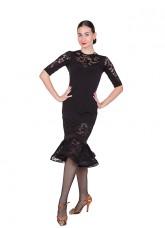 Платье Латина ПЛ428 женское Dance.me, масло / гипюр, черный
