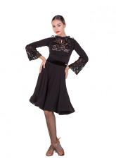 Платье женское Латина ПЛ429 Dance.ME, масло+гипюр+сетка+бархат, черный