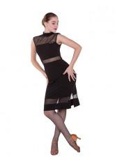 Платье женское Латина ПЛ436 Dance.me, масло+сетка, черный