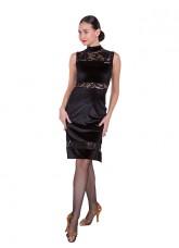 Платье женское Латина ПЛ436-13-11, бархат+гипюр, черный, Dance.me, Украина