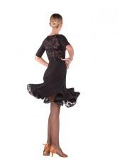 Платье Латина ПЛ438-11 Dance.me женское, масло+гипюр, черный
