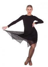 Женское платье для латины ПЛ427 Dance Me, Масло+гипюр, Черный