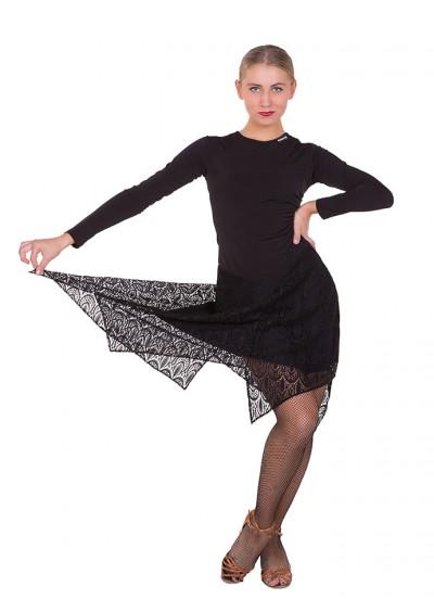 Женское платье для латины Dance Me ПЛ427, Масло+гипюр, Черный